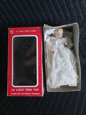 New 1970's 10 Light Christmas Tree Top Electrified Porcelain Head Angel In Box