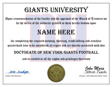 NEW YORK NY GIANTS PERSONALIZED FAN CERTIFICATE, GREAT GIFT