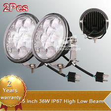 "2Pcs 5"" 36W High Low Beam LED Combo Work Driving Head Light Mount Lamp Bracket"