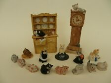 More details for peter fagan hand painted collection of cat ornaments, 15 pieces.