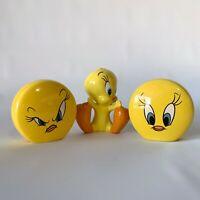 Vintage Tweety Bird Warner Brothers 1999 Salt and Pepper Shakers Lot of 3