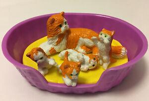 Vintage Kitty In My Pocket Family - #46 Blossom Tortoiseshell, 4 Kittens, Basket