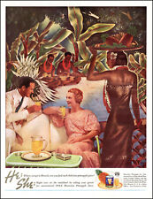 1936 vintage AD for DOLE Pineapple Juice  Stylish Couple in Tropical Art 042021