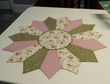 """HANDMADE TABLE TOPPER Centerpiece - 27"""" ROUND - Machine Quilted, Pastel Floral"""