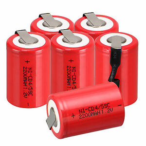 6PCS/PACK NiCd 4/5 SubC Sub C 1.2V 2200mAh Ni-Cd Rechargeable Battery &Tab Red