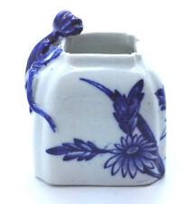 Antique Royal Worcester Brush pot Ink well 1877 Blue & white, Salamander lizard
