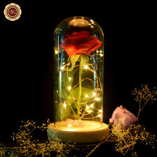 WR LED Light Glass Cover Immortal Red Rose Flower Wedding Party Desk Decor Gifts