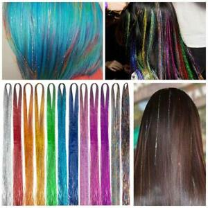 """250 Strands Holographic Sparkle Woman Hair Glitter Tinsel Extensions Dazzles 48"""""""