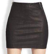 Theory Keila Danish black Leather Mini Skirt NWT Size 12 $595.00