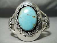 HEAVY ROYSTON TURQUOISE VINTAGE NAVAJO STERLING SILVER SUNRAY BRACELET OLD
