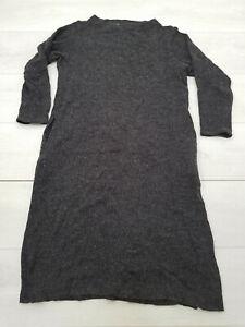 CHOCOL RAFFINE Jumper Midi Dress Size 16 Gray Stretch Pockets Long Sleeve
