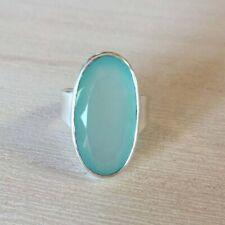 Aqua Chalcedony 925 Sterling Silver Ring Handmade Ring Gift For Her KK-25