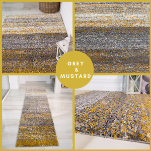 Cheap Grey And Mustard Yellow Area Living Room Rug UK