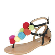 New Women Rainbow Colorful Pom Pom Cluster Thong T-Strap Open Toe Flat Sandal US