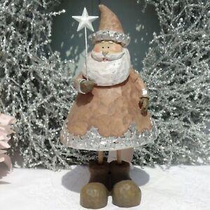 Nikolaus mit Stern Deko X Mas Weihnachten Creme Braun Polyresin Shabby H.17 cm