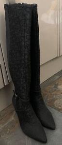 DKNY Ladies Black Jacquard Logo Boots BNIB Size UK4 US 6.5 EU 37