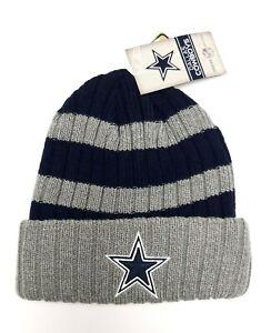 "Dallas Cowboys Youth Hat Beanie ""Walden"" Knit Cuffed Navy Blue Gray Striped"