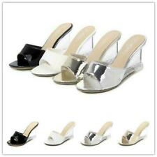 Womens Evening Party Sandals Clear Wedge High Heel Slippers Shoes Mules Slides