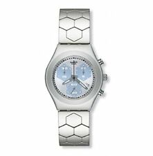 Swatch Esagonale Blue Dial Aluminum Chrono Quartz Ladies Watch YMS4003AG