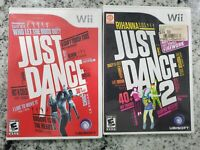 Just Dance Lot Nintendo Wii 1 & 2  & CASES Tested Working