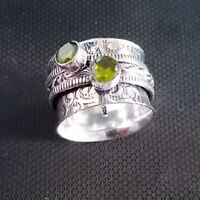 Peridot Gemstone 925 Sterling Silver Spinner Ring Handmade Jewelry Size P HO1990