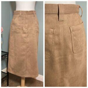 Stunning Suede Effect Midi Skirt M&S Size 8 Large Pockets Landgirl Utility Beige