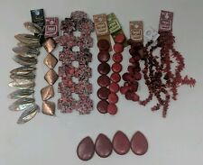 Jewelry Making Supplies Stone Beads Lot of 13 Howlite Dyed Coral Red Bronze