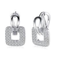 Plated Micro Pave Clear CZ  Hoop Huggie Earrings Women