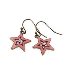 PILGRIM Earrings STAR Vintage Bronze Dusty Pink Enamel Swarovski Crystals BNWOT
