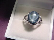 BEAUTIFUL GENUINE BLUE STAR SAPPHIRE 8.87 CTS  925 STERLING SILVER RING