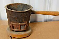 Vintage Cast Iron Hibachi Mini Tabletop Grill Wood Base Japan Rare