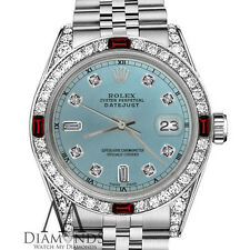 Women's Rolex 31mm Datejust Ice Blue Color Dial with Ruby & Diamond Accent Watch