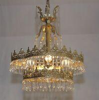 Antik-Stil Deckenlampe Ø40cm Messing Kristallbehang Led Lüster 4fl Kronleuchter