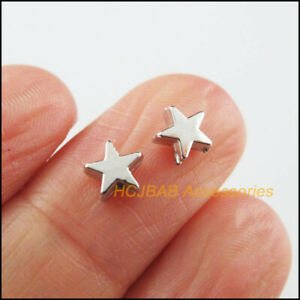 200 New Tiny Star Spacer Beads Charms Acrylic Dull Silver Plated 6mm