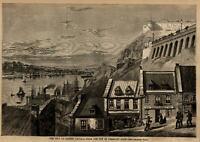 Quebec Canada Prescott Gate city view 1860 Harper's Weekly panoramic view print