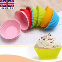 12Pcs Muffin Cases Silicone Cupcake Mould 7cm Reusable Round Baking UK Stock Lap