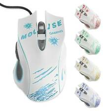 USB Gaming Maus   Computer PC Mouse Notebook Laptop 6 Tasten LED 2400 DPI Weiß