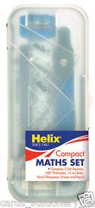 Helix Value Maths Set Compass Protractor Ruler Eraser Sharpener School