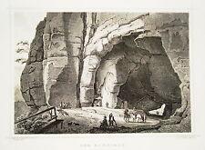 Der Kuhstall  Sächsische Schweiz  Sachsen alter Stahlstich 1850