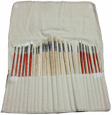 24 PAINT BRUSH SET for Oil Acrylic Art Painting w Canvas Roll Up Bag