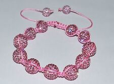 Swarovski Crystal Rose Pink 12mm Pave Ball Beads Macrame Bracelet AS82