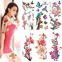 1Sheet Large Flower Butterfly Temporary Tattoos ForWomen Body Art Tattoo Sticker