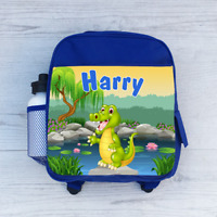 Personalised Cartoon Safari Zoo Animals Boys Kids Backpack Childrens School Bag