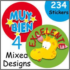 Teacher's and parents reward stickers, Spanish language, good behaviour and work