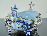 ANCIENNE GRAND JARDINIERE COUPE A FRUIT BARBOTINE DRAGON FAIENCE ROUEN SIGNE