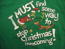 Dr. Seuss's How The Grinch Stole Christmas Book Distressed Green T Shirt Size L