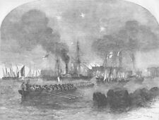 FINLAND. Shelling of Suomenlinna. French gun-boats, antique print, 1855