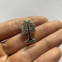Tree Pin Button Silver Tone Pinback Nature Outdoors