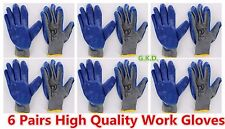 NEW 6 Pairs Blue Premium Latex Rubber Coated Palm Gray String Knit Work Gloves