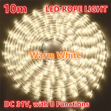 10M 240 LEDs Rope Lights Warm White 8 Functions Outdoor Christams Wedding Party